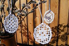 Dekorácie - Biele háčkované vajíčka - 3855060_