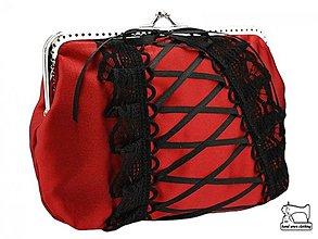 Kabelky - zľava saténová červená spoločenská kabelka , taštička   0745 - 3865073_