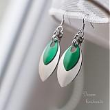 Náušnice Double s velkou stříbrnou (Zelené)