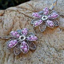 Náušnice - Ružové kvetinky - 3862735_