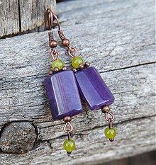 Náušnice - Fialové jadeity - 3863749_