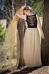 Šaty - Dlhé čierno zlaté...maľované - 3868815_