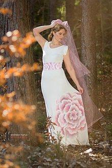 Šaty - Dlhé biele....maľované - 3868377_