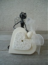 Darčeky pre svadobčanov - Srdiečko biele dvojité - 3873455_