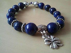 Náramky - Čarovný lapis lazuli so štvorlístkom - 3872698_