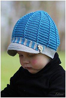 Detské čiapky - tmavotyrkysová bekovka - 3871416_