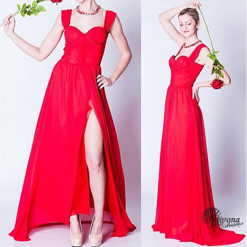 Spoločenské šifónové šaty s korzetom vpredu rozstrihnuté rôzne farby ... 6afedf51a40