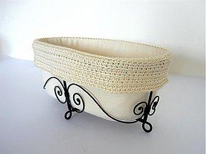 Košíky - Košík vanička s háčkovaným lemom - 3877049_