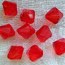 Korálky - Plast bicone 11mm-1ks (červená) - 3879081_