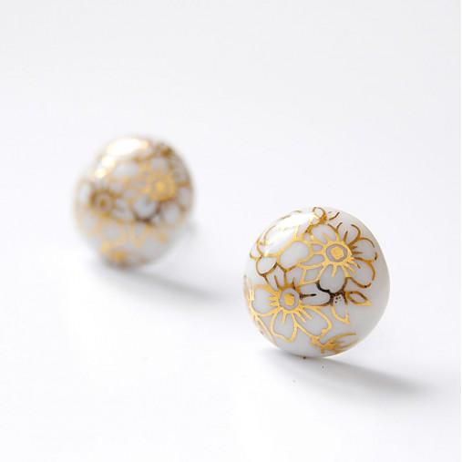 Napichovacie náušnice kvety / Pecky gold