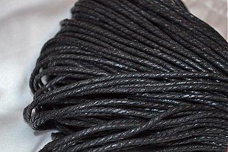 Galantéria - Šnúrka voskovaná krútená čierna, 1,5mm, 0.19€/meter - 3878668_