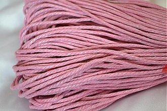 Galantéria - Šnúrka voskovaná krútená ružová, 2mm, 0.19€/meter - 3878717_