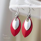 Náušnice - Náušnice Double s malou stříbrnou (Červené) - 3885752_