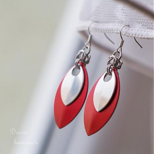 Náušnice Double s malou stříbrnou (Červené)