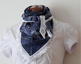 Šatky - šatka-džínsový dizajn - 3882944_