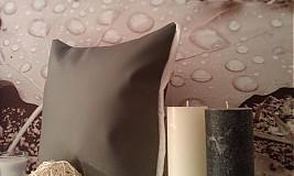 Úžitkový textil - obliečka na vankúš z ekokože - sivá, béžová, čierna alebo biela - 3888381_