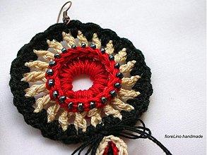 Náušnice - red black chic náušnice - 3890008_