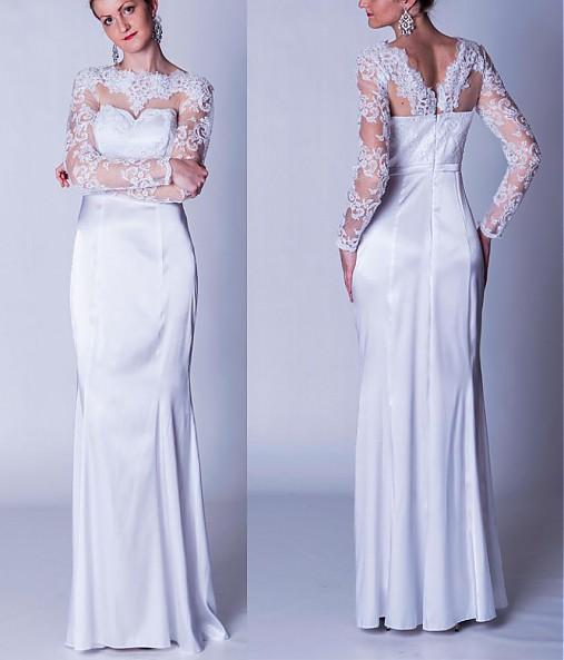 Svadobné šaty s dlhým tylovým rukávom   Dyona - SAShE.sk - Handmade Šaty 13b3a393569