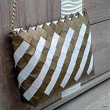 Kabelky - zlato biela ecoistka - 3895233_