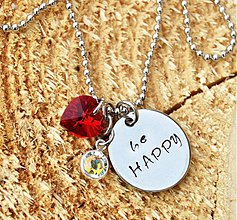 Náhrdelníky - be HAPPY náhrdelník so swarovski - 3900889_