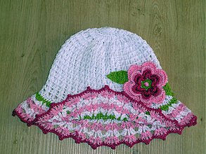 Detské čiapky - Bielo ruzovy klobucik s ruzou - 3900769_