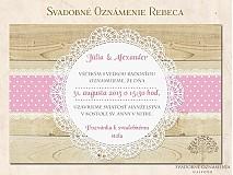 Papiernictvo - Svadobné oznámenie Rebeca - 3903350_