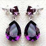 Náušnice - crystal amethyst - 3907800_