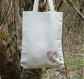 Veľké tašky - Ľan - srdiečko - 3909196_