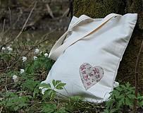 Veľké tašky - Ľan - srdiečko - 3909197_