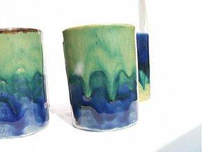 Nádoby - mydelnička modro zelená  set