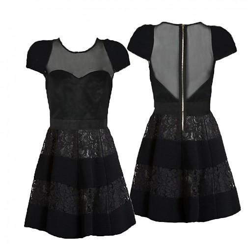 Koktejlové šaty s tylom a krajkou na kovový zips