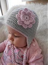 Detské čiapky - Šedo - ružová kombinácia (upr. cena pre schnuffik) - 3912187_