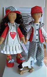 Bábiky - Sivočervený párik - 3911554_