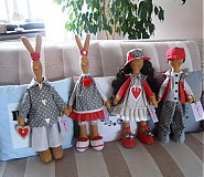Bábiky - Sivočervený párik - 3911556_