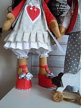 Bábiky - Sivočervený párik - 3911563_
