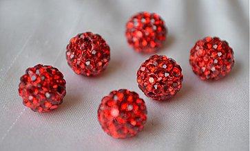 Korálky - Shamballa korálky CZ kryštál červené, 8mm, 0.40€/ks - 3912079_
