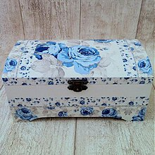 Krabičky - Modrá ružička - 3916818_