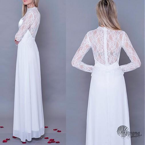 Svadobné šaty s krajkovými rukávmi