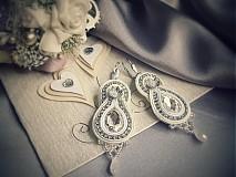 Náušnice - Nevesta - svadobné šujtášové náušnice - 3918581_