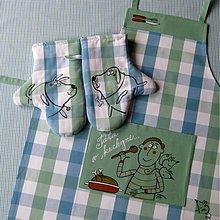 Úžitkový textil - TÁTA v KUCHYNI - zástěra a chňapky - 3921796_