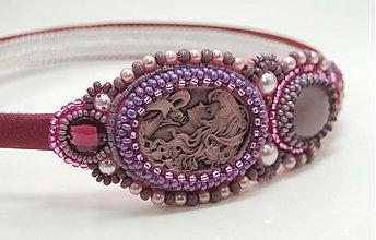 Ozdoby do vlasov - Dáma s kamejí purple ... čelenka - 3925875_