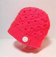 Čiapky - Háčkovaná čiapka v červenej SKLADOM - 3928865_
