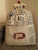 Úžitkový textil - Textilní retro sáček se vzorem novin - 3925735_