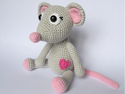 Háčkovaná zaľúbená myška - návod