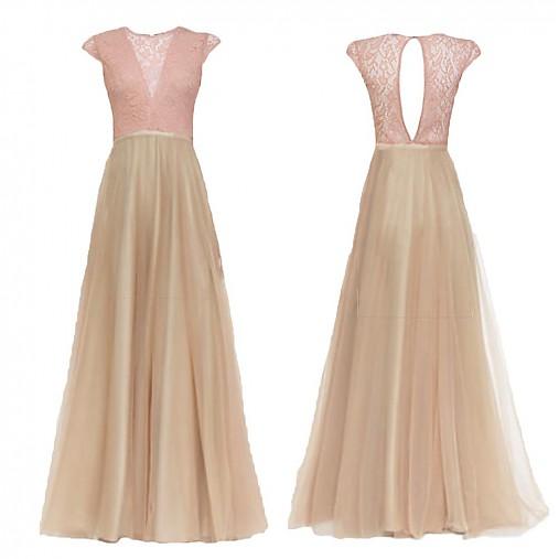 Spoločenské šaty so šifónovou sukňou do A