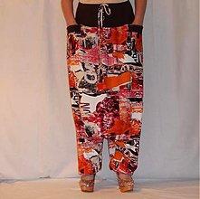 Nohavice - Turecké nohavice červený maskáč - 3929251_