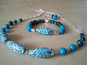 Náhrdelníky - Nebo pred búrkou (mramor, tyrkys, chryzokol)- náhrdelník - 3934886_