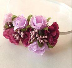 Ozdoby do vlasov - Fialové ružičky - 3936049_