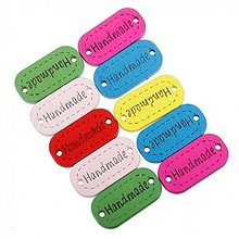 Galantéria - Farebné štítky na prišitie HANDMADE (balíček 20ks) - 3938833_
