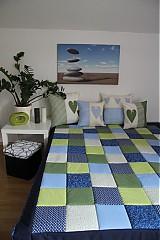 - patchwork deka 140x200 alebo 220x220  zeleno-modra  - 3940819_